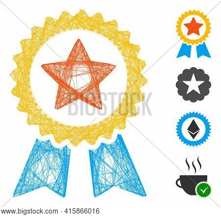Vector Network Reward Seal. Geometric Linear Frame 2d Network Made From Reward Seal Icon, Designed F