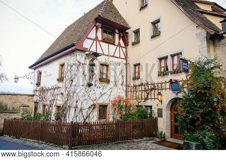Vintage Hotel At Old Town, Medieval Narrow Street, Colorful Gothic And Renaissance Historical Buildi