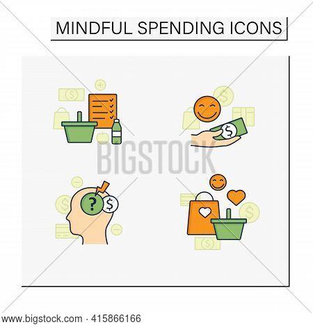 Mindful Spendings Color Icons Set.shopaholism, Designate Guilt-free Spending Money, Shopping List, S