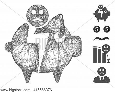 Vector Net Sad Bankruptcy Piggy Bank. Geometric Linear Carcass 2d Net Generated With Sad Bankruptcy