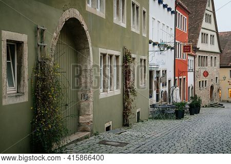 Medieval Narrow Street, Colorful Renaissance And Gothic Historical Buildings, Half-timbered Houses,