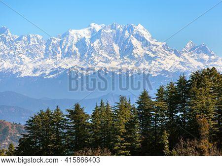 Mount Chaukhamba And Woodland, Himalaya, Panoramic View Of Indian Himalayas Mountains, Great Himalay