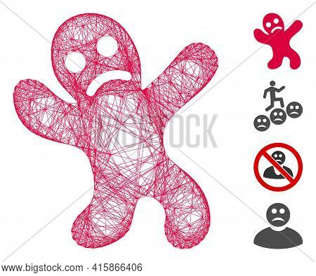 Vector Wire Frame Sad Cookie Man. Geometric Hatched Frame 2d Net Made From Sad Cookie Man Icon, Desi