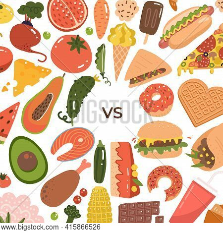 Healthy Vs Junk Food Backgroung. Unhealthy Lifestyle With Soda, Hamburger And Sugar Food. Healthy Nu