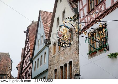 Medieval Narrow Street, Renaissance, Gothic Historical Buildings, Vintage Wrought Iron Signs, Half-t