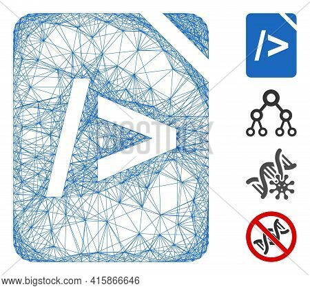 Vector Wire Frame Script Code. Geometric Wire Carcass Flat Network Made From Script Code Icon, Desig