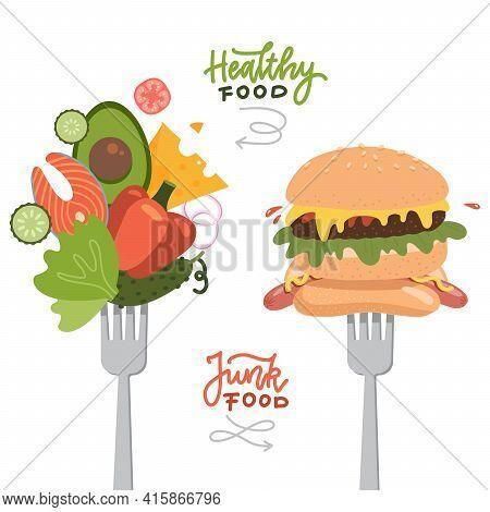 Choosing Between Healthy Food And Fast Junk Food. Food On Forks Concept. Banner, Flyer Design Elemen