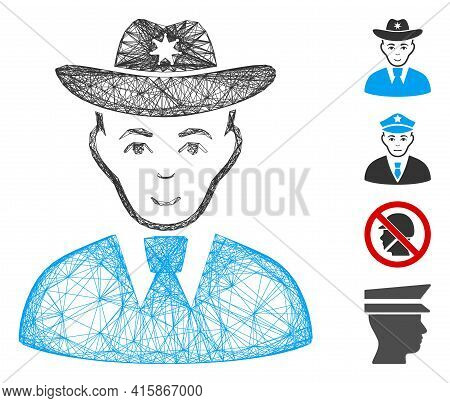 Vector Wire Frame Sheriff. Geometric Wire Frame 2d Net Based On Sheriff Icon, Designed With Crossed
