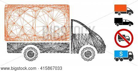 Vector Wire Frame Shipment Car. Geometric Wire Frame 2d Network Made From Shipment Car Icon, Designe