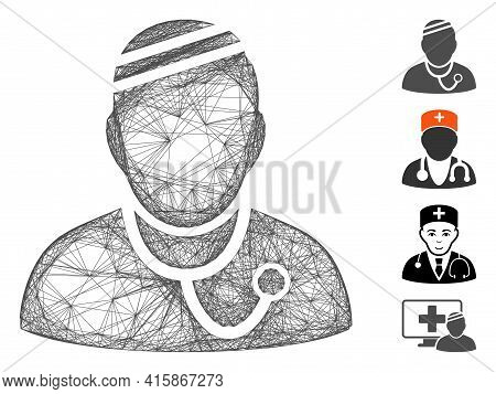 Vector Net Sick Physician. Geometric Hatched Carcass Flat Net Made From Sick Physician Icon, Designe