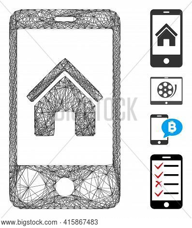 Vector Net Smartphone Homepage. Geometric Hatched Frame Flat Net Made From Smartphone Homepage Icon,