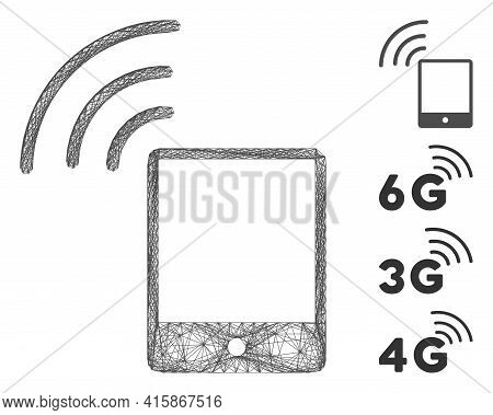 Vector Wire Frame Smartphone Wi-fi Signal. Geometric Hatched Frame 2d Network Generated With Smartph