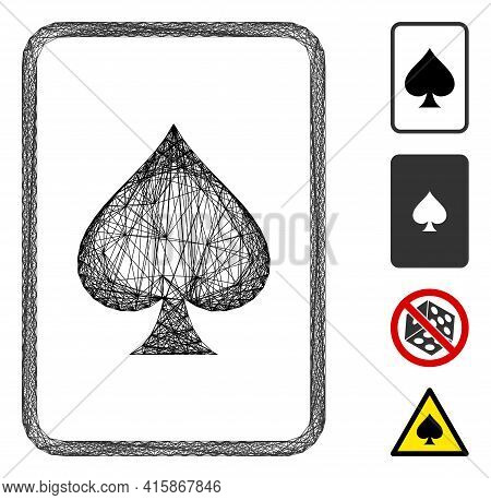 Vector Wire Frame Spades Gambling Card. Geometric Linear Frame 2d Network Generated With Spades Gamb
