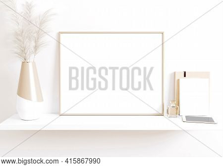 Single 8x10 Horizontal Beige Frame Mockup With Boho Style Decorations On White Floor And White Wall.