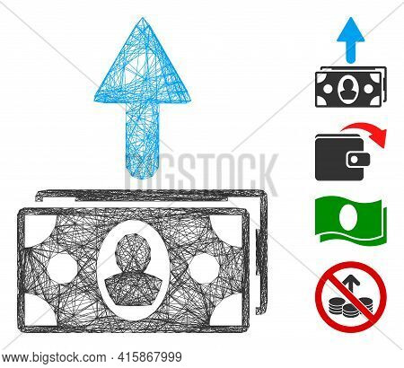 Vector Wire Frame Spend Banknotes. Geometric Linear Frame 2d Net Made From Spend Banknotes Icon, Des