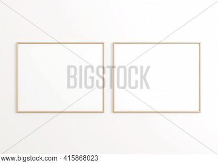 Double 8x10 Horizontal Beige Frame Mockup On White Wall. Two Empty Poster Frame Mockup On White Back