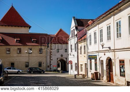 Medieval Gothic Castle Kadan At Royal City, Town Fortification, Fortress Wall On Sunny Day, Arched G