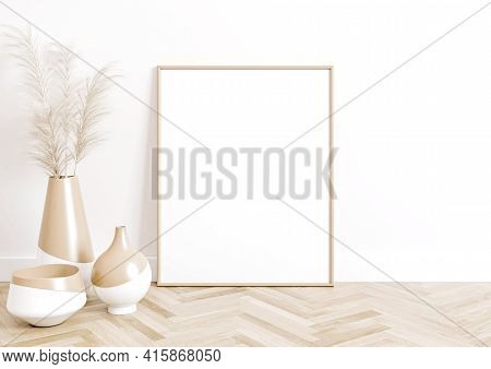 Single 8x10 Vertical Beige Frame Mockup With Boho Style Decorations On Wooden Floor And White Wall.