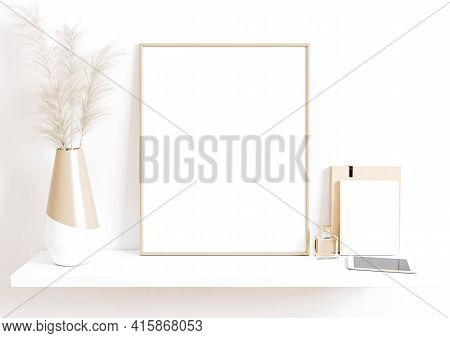 Single 8x10 Vertical Beige Frame Mockup With Boho Style Decorations On White Shelf And White Wall. O