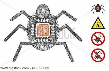 Vector Network Spy Bug. Geometric Wire Frame Flat Net Generated With Spy Bug Icon, Designed With Cro