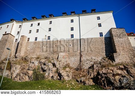 Medieval Gothic Castle Kadan At Royal City, Town Fortification, Fortress Wall On Sunny Day, Historic