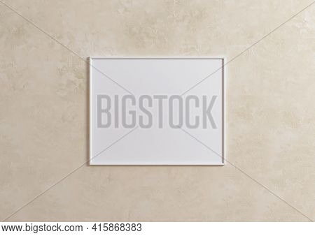 Single 8x10 Horizontal White Frame Mockup With Plant In Vase On Beige Wall. One Empty Poster Frame M