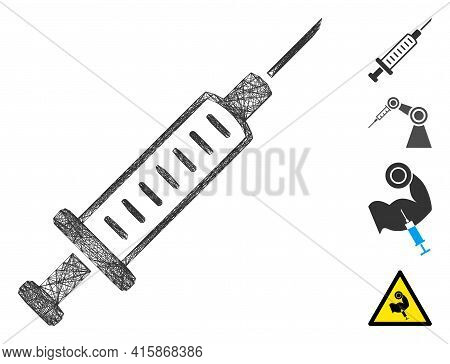 Vector Net Syringe. Geometric Linear Carcass 2d Net Made From Syringe Icon, Designed From Crossing L