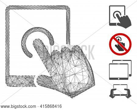 Vector Wire Frame Tablet Tap. Geometric Wire Frame 2d Net Generated With Tablet Tap Icon, Designed F