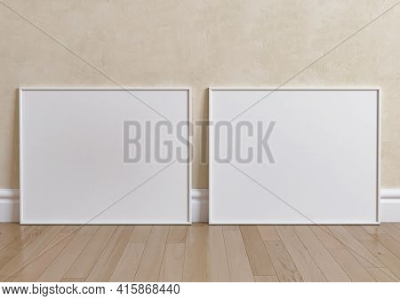 Double 8x10 Horizontal White Frame Mockup On Wooden Floor And Beige Wall. Two Empty Poster Frame Moc