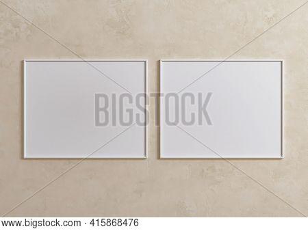 Double 8x10 Horizontal White Frame Mockup On Beige Wall. Two Empty Poster Frame Mockup On Beige Back