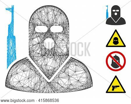 Vector Net Terrorist. Geometric Hatched Frame Flat Net Generated With Terrorist Icon, Designed With