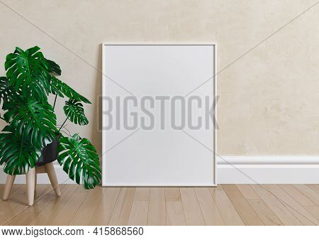 Single 8x10 Vertical White Frame Mockup With Plant In Vase On Wooden Floor And Beige Wall. One Empty