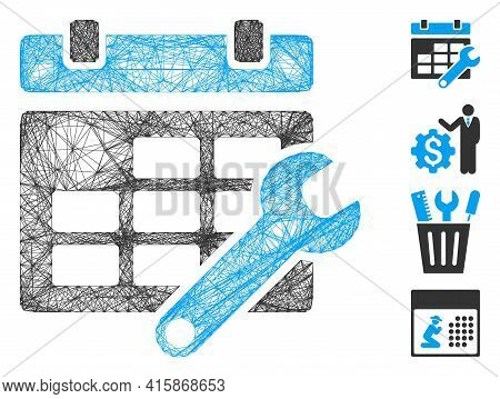 Vector Wire Frame Timetable Options. Geometric Linear Frame 2d Net Generated With Timetable Options