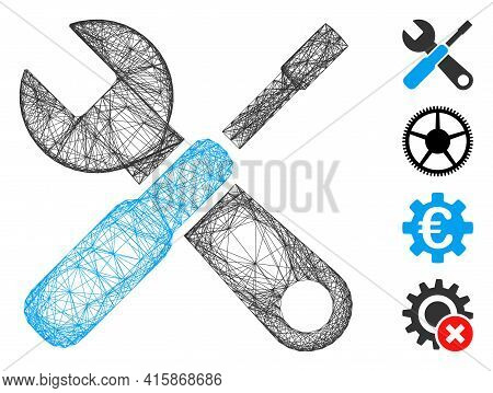 Vector Net Tools. Geometric Hatched Frame 2d Net Made From Tools Icon, Designed From Crossing Lines.