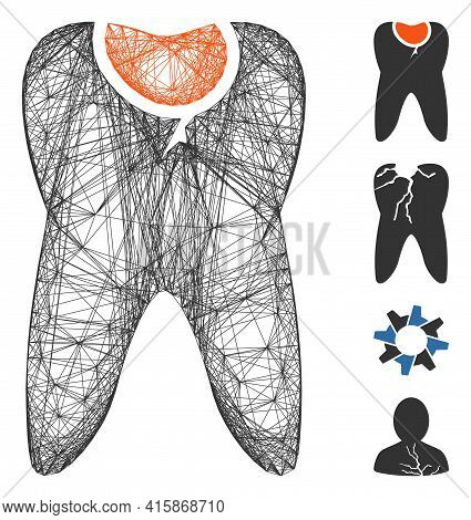 Vector Net Tooth Caries. Geometric Linear Frame 2d Net Made From Tooth Caries Icon, Designed From Cr