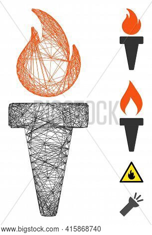 Vector Net Torch Fire. Geometric Wire Carcass Flat Net Generated With Torch Fire Icon, Designed With