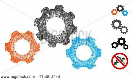 Vector Wire Frame Transmission Gears. Geometric Wire Frame Flat Network Made From Transmission Gears