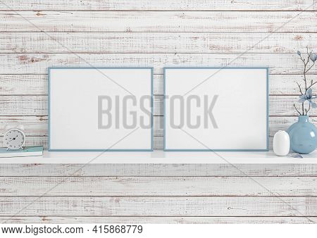 Double 8x10 Horizontal Blue Frame Mockup On White Shelf And White Wooden Wall. Two Empty Poster Fram