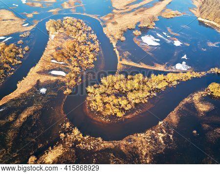 Spring Melting River Flood Aerial Panorama. Overflow Water At Springtime.