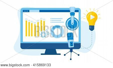 The Concept Of Introducing A Marketing Stream. Business Analytics. Video Ideas. With A Monitor, A De