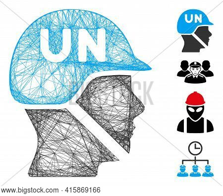 Vector Network United Nations Soldier Helmet. Geometric Linear Frame Flat Network Generated With Uni