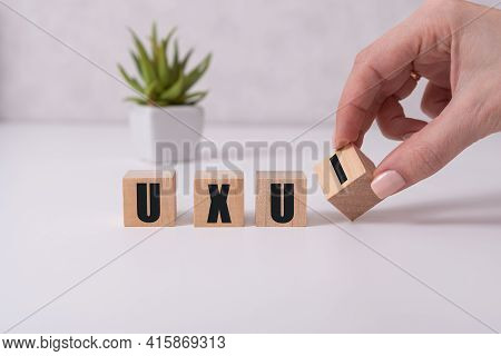 Ui, User Interface Design Concept, Cube Wooden Block With Alphabet U And I On Grid Line Note Book, C