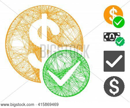 Vector Wire Frame Valid Dollar Coin. Geometric Hatched Frame Flat Network Generated With Valid Dolla
