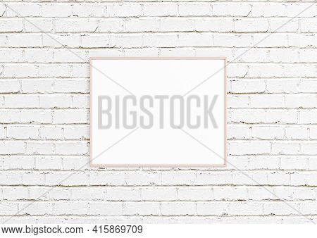 Single 8x10 Horizontal Pink Frame Mockup With Decorations On White Bricks Wall. One Empty Poster Fra