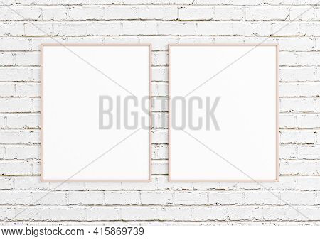 Double 8x10 Vertical Pink Frame Mockup On White Bricks Wall. Two Empty Poster Frame Mockup On White