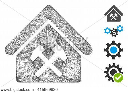 Vector Network Workshop. Geometric Wire Frame 2d Network Generated With Workshop Icon, Designed With