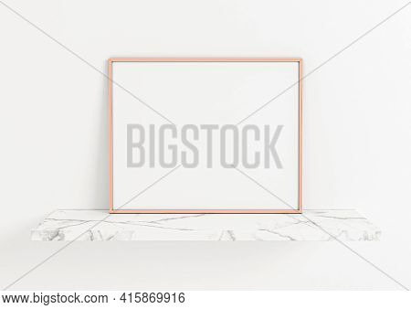 Single 8x10 Horizontal Rose Gold Frame Mockup On Marble Shelf And White Wall. One Empty Poster Frame