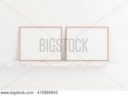 Double 8x10 Horizontal Rose Gold Frame Mockup On Marble Shelf And White Wall. Two Empty Poster Frame