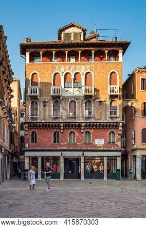 Venice, Italy - Jun 29, 2020: The Campo San Luca Square, Center Of The City Of Venice, Italy. An Ele