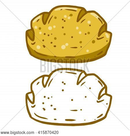 Bread. Set Of Loaves. Natural Farm Product. The Logo Of The Bakery. Brown Fried Crust. Cartoon Illus